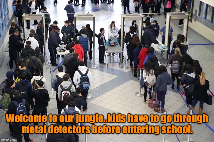 Welcome to our jungle..kids have to go through metal detectors before entering school. | made w/ Imgflip meme maker