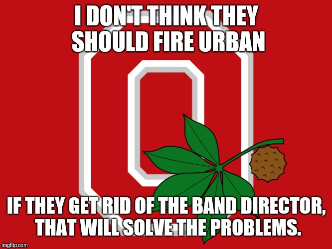 Ohio State flag | I DON'T THINK THEY SHOULD FIRE URBAN IF THEY GET RID OF THE BAND DIRECTOR, THAT WILL SOLVE THE PROBLEMS. | image tagged in ohio state flag | made w/ Imgflip meme maker