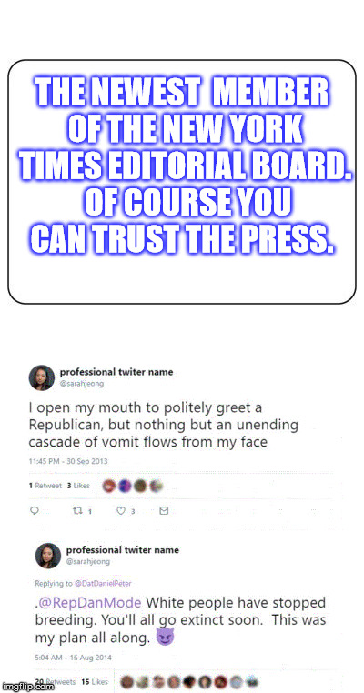 New York Times sucks.  | THE NEWEST  MEMBER OF THE NEW YORK TIMES EDITORIAL BOARD.  OF COURSE YOU CAN TRUST THE PRESS. | image tagged in journalism,free speech,new york times | made w/ Imgflip meme maker