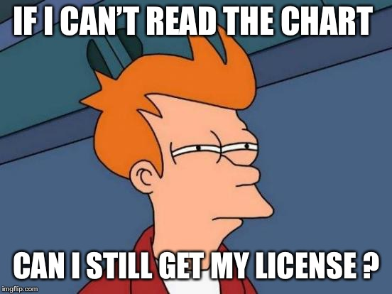 Futurama Fry Meme | IF I CAN'T READ THE CHART CAN I STILL GET MY LICENSE ? | image tagged in memes,futurama fry | made w/ Imgflip meme maker