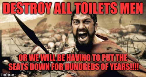 Sparta Leonidas Meme | DESTROY ALL TOILETS MEN OR WE WILL BE HAVING TO PUT THE SEATS DOWN FOR HUNDREDS OF YEARS!!!! | image tagged in memes,sparta leonidas | made w/ Imgflip meme maker