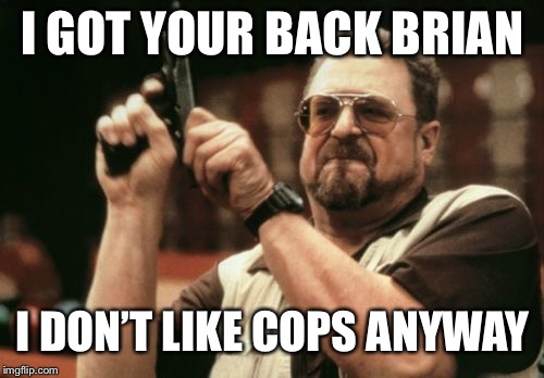 Am I The Only One Around Here Meme | I GOT YOUR BACK BRIAN I DON'T LIKE COPS ANYWAY | image tagged in memes,am i the only one around here | made w/ Imgflip meme maker