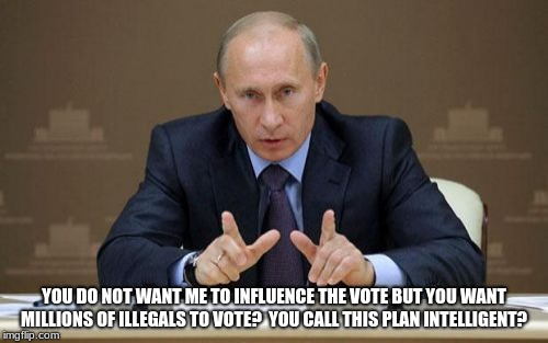 Vladimir Putin Meme | YOU DO NOT WANT ME TO INFLUENCE THE VOTE BUT YOU WANT MILLIONS OF ILLEGALS TO VOTE?  YOU CALL THIS PLAN INTELLIGENT? | image tagged in memes,vladimir putin | made w/ Imgflip meme maker