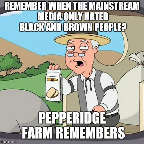 Pepperidge Farm Remembers Meme | REMEMBER WHEN THE MAINSTREAM MEDIA ONLY HATED BLACK AND BROWN PEOPLE? PEPPERIDGE FARM REMEMBERS | image tagged in memes,pepperidge farm remembers | made w/ Imgflip meme maker