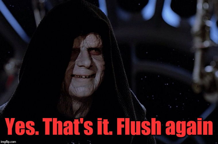 Darth Sidius | Yes. That's it. Flush again | image tagged in darth sidius | made w/ Imgflip meme maker
