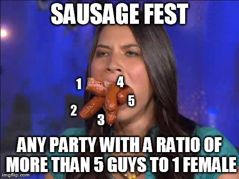 SAUSAGE FEST ANY PARTY WITH A RATIO OF MORE THAN 5 GUYS TO 1 FEMALE 1 2 3 4 5 | image tagged in sausage fest,funny | made w/ Imgflip meme maker