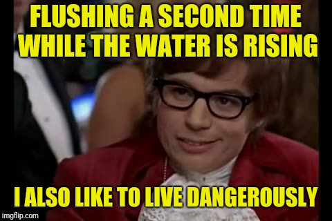 I Too Like To Live Dangerously Meme | FLUSHING A SECOND TIME WHILE THE WATER IS RISING I ALSO LIKE TO LIVE DANGEROUSLY | image tagged in memes,i too like to live dangerously | made w/ Imgflip meme maker