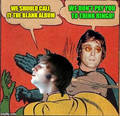 Batman Slapping Robin Meme | WE SHOULD CALL IT THE BLANK ALBUM WE DON'T PAY YOU TO THINK RINGO! | image tagged in memes,batman slapping robin | made w/ Imgflip meme maker