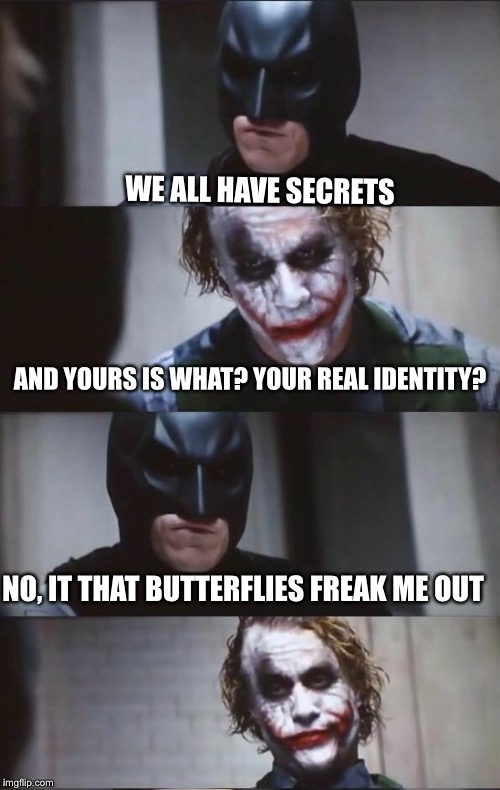 Batman and Joker | WE ALL HAVE SECRETS NO, IT THAT BUTTERFLIES FREAK ME OUT AND YOURS IS WHAT? YOUR REAL IDENTITY? | image tagged in batman and joker | made w/ Imgflip meme maker