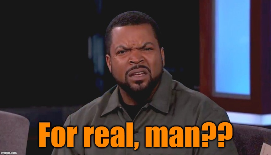 Really? Ice Cube | For real, man?? | image tagged in really ice cube | made w/ Imgflip meme maker