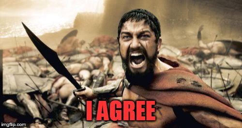 Sparta Leonidas Meme | I AGREE | image tagged in memes,sparta leonidas | made w/ Imgflip meme maker