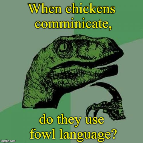Philosoraptor Meme | When chickens comminicate, do they use fowl language? | image tagged in memes,philosoraptor,puns,things  that make you go hmm | made w/ Imgflip meme maker