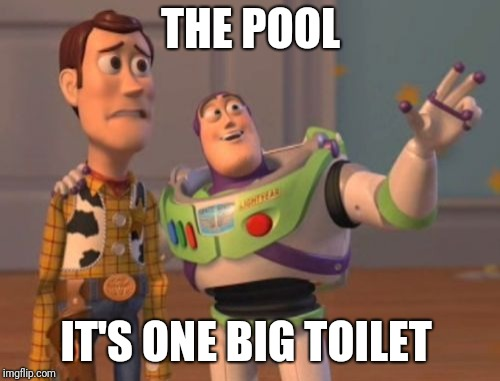 X, X Everywhere Meme | THE POOL IT'S ONE BIG TOILET | image tagged in memes,x x everywhere | made w/ Imgflip meme maker