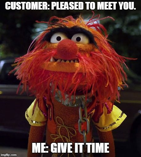 CUSTOMER: PLEASED TO MEET YOU. ME: GIVE IT TIME | image tagged in muppet animal | made w/ Imgflip meme maker