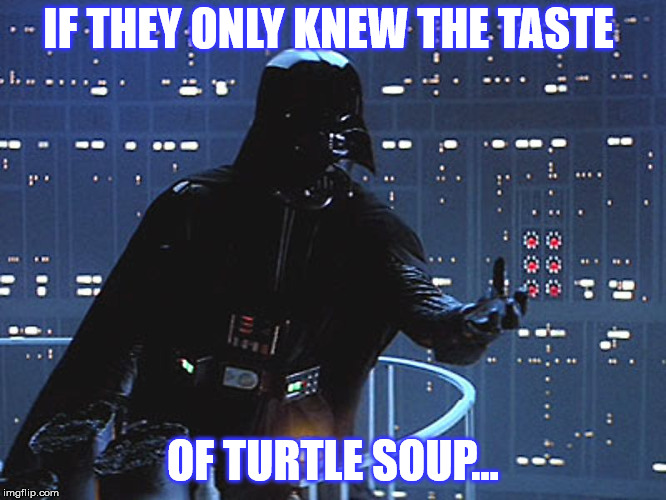 Darth Vader - Come to the Dark Side | IF THEY ONLY KNEW THE TASTE OF TURTLE SOUP... | image tagged in darth vader - come to the dark side | made w/ Imgflip meme maker