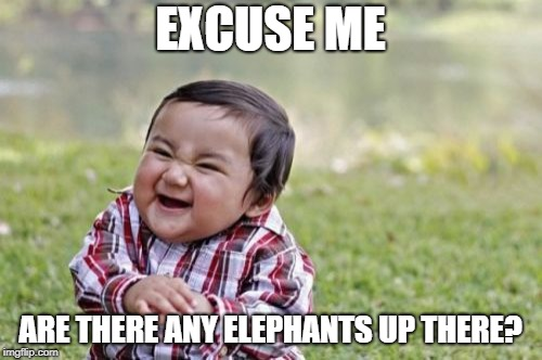 Evil Toddler Meme | EXCUSE ME ARE THERE ANY ELEPHANTS UP THERE? | image tagged in memes,evil toddler | made w/ Imgflip meme maker