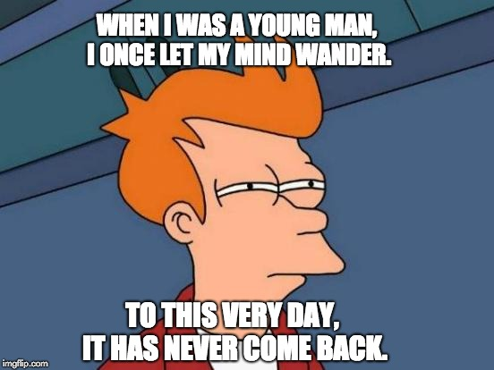 Futurama Fry Meme | WHEN I WAS A YOUNG MAN, I ONCE LET MY MIND WANDER. TO THIS VERY DAY, IT HAS NEVER COME BACK. | image tagged in memes,futurama fry | made w/ Imgflip meme maker