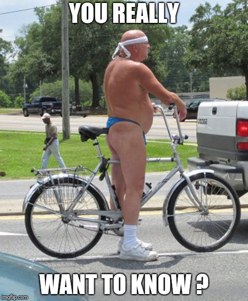 bike thong | YOU REALLY WANT TO KNOW ? | image tagged in bike thong | made w/ Imgflip meme maker
