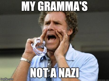 Yelling | MY GRAMMA'S NOT A NAZI | image tagged in yelling | made w/ Imgflip meme maker