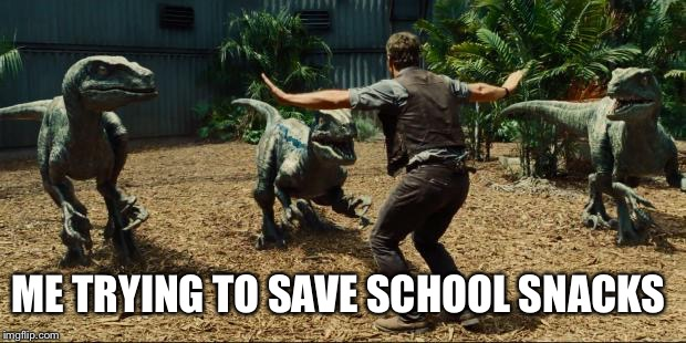 Jurassic world | ME TRYING TO SAVE SCHOOL SNACKS | image tagged in jurassic world | made w/ Imgflip meme maker