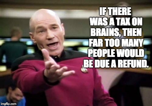 Picard Wtf Meme | IF THERE WAS A TAX ON BRAINS, THEN FAR TOO MANY PEOPLE WOULD BE DUE A REFUND. | image tagged in memes,picard wtf | made w/ Imgflip meme maker