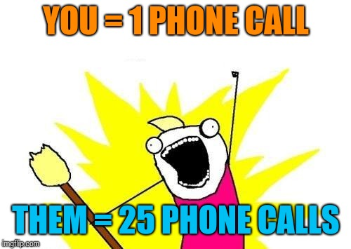 X All The Y Meme | YOU = 1 PHONE CALL THEM = 25 PHONE CALLS | image tagged in memes,x all the y | made w/ Imgflip meme maker