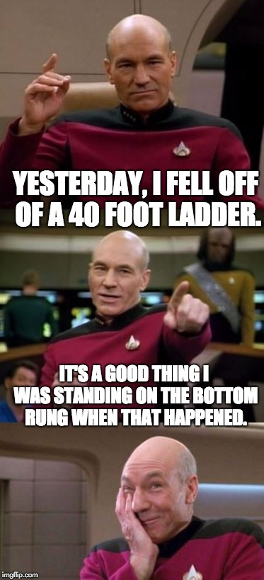 Picard Pun | YESTERDAY, I FELL OFF OF A 40 FOOT LADDER. IT'S A GOOD THING I WAS STANDING ON THE BOTTOM RUNG WHEN THAT HAPPENED. | image tagged in picard pun | made w/ Imgflip meme maker