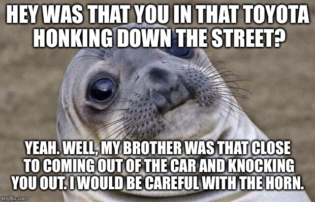 Awkward Moment Sealion Meme | HEY WAS THAT YOU IN THAT TOYOTA HONKING DOWN THE STREET? YEAH. WELL, MY BROTHER WAS THAT CLOSE TO COMING OUT OF THE CAR AND KNOCKING YOU OUT | image tagged in memes,awkward moment sealion,AdviceAnimals | made w/ Imgflip meme maker
