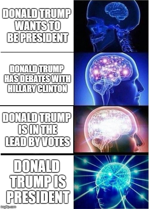 Expanding Brain Meme | DONALD TRUMP WANTS TO BE PRESIDENT DONALD TRUMP HAS DEBATES WITH HILLARY CLINTON DONALD TRUMP IS IN THE LEAD BY VOTES DONALD TRUMP IS PRESID | image tagged in memes,expanding brain | made w/ Imgflip meme maker