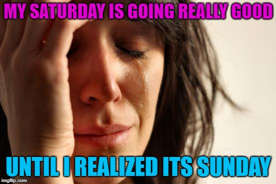 What day is it? | MY SATURDAY IS GOING REALLY GOOD UNTIL I REALIZED ITS SUNDAY | image tagged in memes,first world problems,funny,saturday,sunday | made w/ Imgflip meme maker