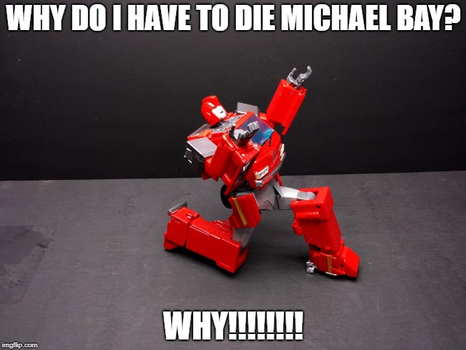 Transformers Ironhide Kneel | WHY DO I HAVE TO DIE MICHAEL BAY? WHY!!!!!!!! | image tagged in transformers ironhide kneel | made w/ Imgflip meme maker