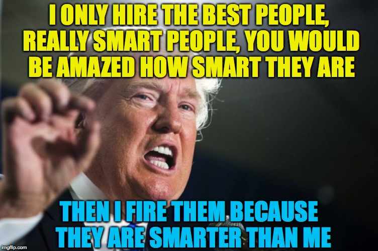 donald trump | I ONLY HIRE THE BEST PEOPLE, REALLY SMART PEOPLE, YOU WOULD BE AMAZED HOW SMART THEY ARE THEN I FIRE THEM BECAUSE  THEY ARE SMARTER THAN ME | image tagged in donald trump | made w/ Imgflip meme maker
