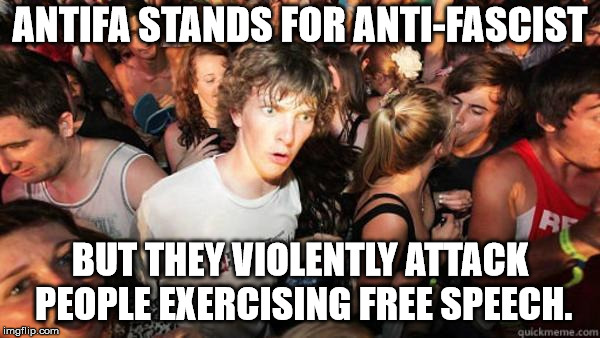 Antifa and the swastica | ANTIFA STANDS FOR ANTI-FASCIST BUT THEY VIOLENTLY ATTACK PEOPLE EXERCISING FREE SPEECH. | image tagged in antifa,first amendment,idiots | made w/ Imgflip meme maker
