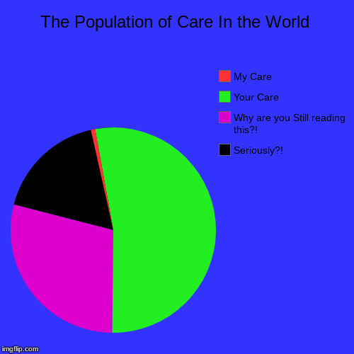 The Care Chart | The Population of Care In the World | Seriously?!, Why are you Still reading this?!, Your Care, My Care | image tagged in funny,pie charts,care | made w/ Imgflip pie chart maker