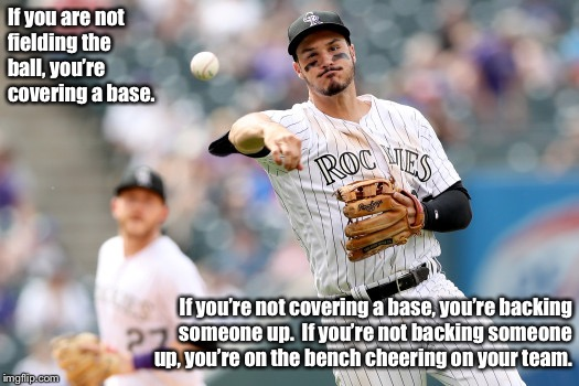 Backup the play | If you are not fielding the ball, you're covering a base. If you're not covering a base, you're backing someone up.  If you're not backing s | image tagged in backup the play,baseball,fundamentals,teamwork | made w/ Imgflip meme maker