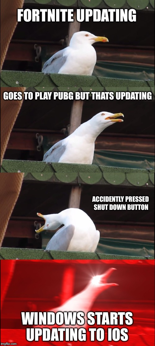 Inhaling Seagull Meme | FORTNITE UPDATING GOES TO PLAY PUBG BUT THATS UPDATING ACCIDENTLY PRESSED SHUT DOWN BUTTON WINDOWS STARTS UPDATING TO IOS | image tagged in memes,inhaling seagull | made w/ Imgflip meme maker
