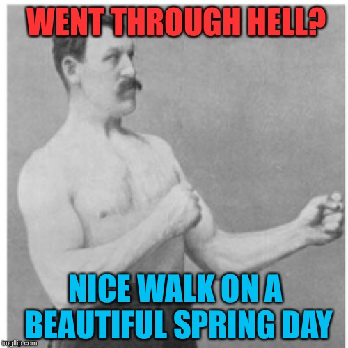 Overly Manly Man Meme | WENT THROUGH HELL? NICE WALK ON A BEAUTIFUL SPRING DAY | image tagged in memes,overly manly man | made w/ Imgflip meme maker