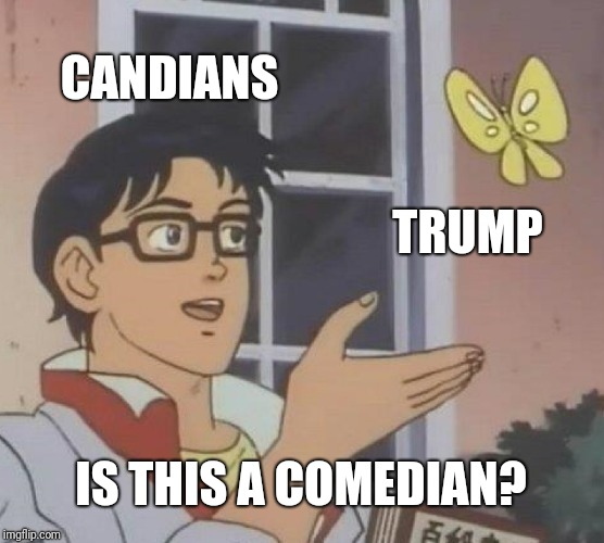 American politic from a canadian | CANDIANS TRUMP IS THIS A COMEDIAN? | image tagged in memes,is this a pigeon,donald trump,trump,canada | made w/ Imgflip meme maker