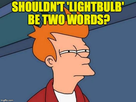 Futurama Fry Meme | SHOULDN'T 'LIGHTBULB' BE TWO WORDS? | image tagged in memes,futurama fry | made w/ Imgflip meme maker