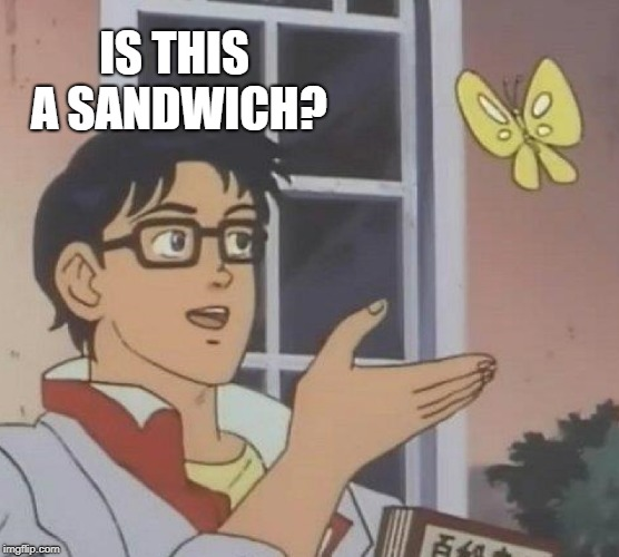 Is This A Pigeon Meme | IS THIS A SANDWICH? | image tagged in memes,is this a pigeon | made w/ Imgflip meme maker
