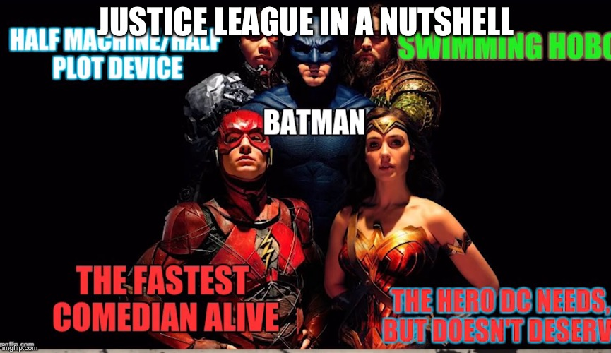 Justice League in a nutshell  | JUSTICE LEAGUE IN A NUTSHELL | image tagged in funny meme | made w/ Imgflip meme maker