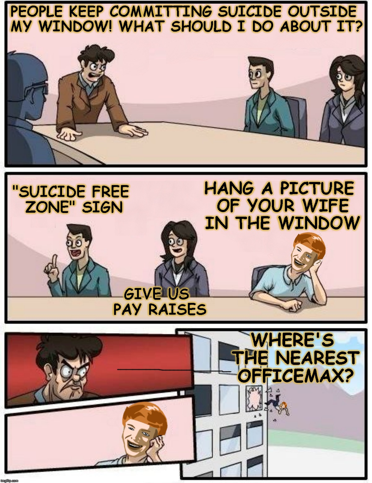 "Flight Of The Instigator | PEOPLE KEEP COMMITTING SUICIDE OUTSIDE MY WINDOW! WHAT SHOULD I DO ABOUT IT? ""SUICIDE FREE ZONE"" SIGN GIVE US PAY RAISES HANG A PICTURE OF Y 