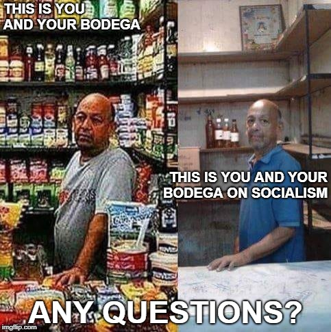 Venezuela, explained | THIS IS YOU AND YOUR BODEGA ANY QUESTIONS? THIS IS YOU AND YOUR BODEGA ON SOCIALISM | image tagged in bodega on socialism,venezuela,real socialism,starvation diet | made w/ Imgflip meme maker