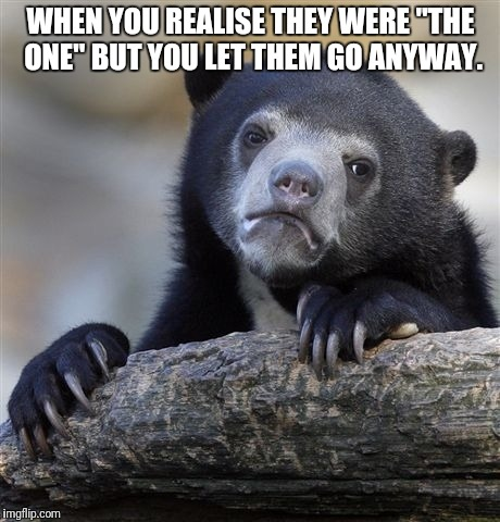 "Confession Bear Meme | WHEN YOU REALISE THEY WERE ""THE ONE"" BUT YOU LET THEM GO ANYWAY. 