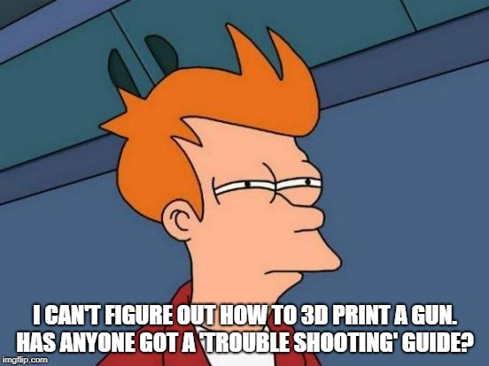 Futurama Fry Meme | I CAN'T FIGURE OUT HOW TO 3D PRINT A GUN. HAS ANYONE GOT A 'TROUBLE SHOOTING' GUIDE? | image tagged in memes,futurama fry | made w/ Imgflip meme maker