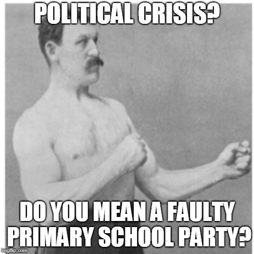 Politics and Political Stuff | POLITICAL CRISIS? DO YOU MEAN A FAULTY PRIMARY SCHOOL PARTY? | image tagged in memes,overly manly man,funny,politics,kids,crisis | made w/ Imgflip meme maker