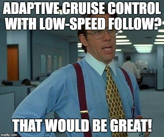That Would Be Great Meme |  ADAPTIVE CRUISE CONTROL WITH LOW-SPEED FOLLOW? THAT WOULD BE GREAT! | image tagged in memes,that would be great,cars,technology | made w/ Imgflip meme maker