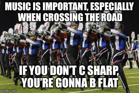 It's important to learn your notes. | MUSIC IS IMPORTANT, ESPECIALLY WHEN CROSSING THE ROAD IF YOU DON'T C SHARP, YOU'RE GONNA B FLAT | image tagged in marching band | made w/ Imgflip meme maker