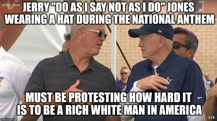 Image result for Jerry Jones hat during national anthem