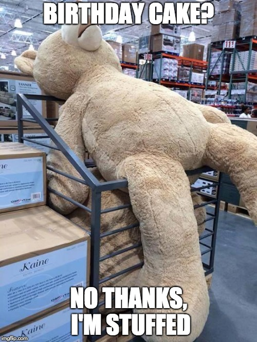 Giant Teddy Bear | BIRTHDAY CAKE? NO THANKS, I'M STUFFED | image tagged in giant teddy bear | made w/ Imgflip meme maker